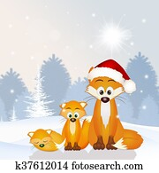 red fox family at Christmas hat