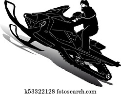 Silhouette of motorcycle snowmobile on speed, on white background,