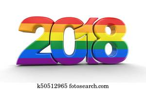 Gay Pride Color New Year 2018. Image with clipping path.