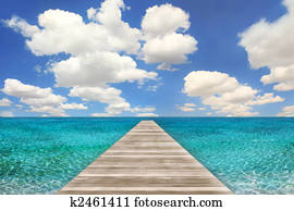 Ocean Beach Scene With Wood Pier