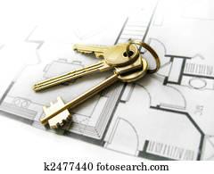 Gold keys for the new dream home