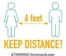 Keep distance 6 feet sign icon