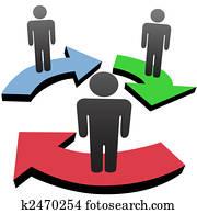 leute, kommunizieren, in, team, workflow, vernetzung, pfeile
