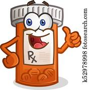 Pill Bottle Smiling Cartoon Character