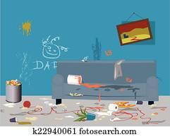clipart salle d sordre k24436543 recherchez des clip arts des illustrations des dessins et. Black Bedroom Furniture Sets. Home Design Ideas