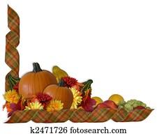 Thanksgiving Autumn Fall ribbons Border