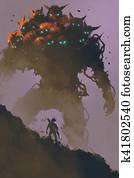 the warrior facing giant multi-head monster