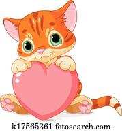 valentines tag, katzenbaby