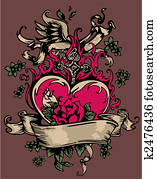 vintage heart with flores and cross