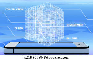 wireframe of office building on the phone