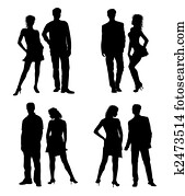 Young adults couple silhouettes black white
