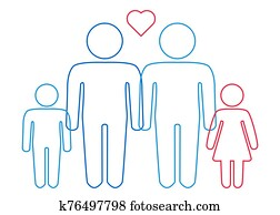 A schematic depiction of a family couple of gay men with children