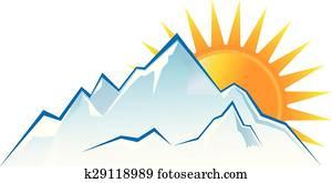 bergwelt, sonnenuntergang, logo
