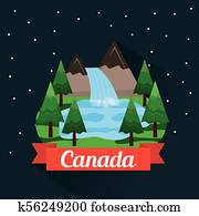 , illustrated panels, country, forest, lake, moon, panals ...