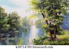 Oil painting landscape - lake in the forest, summer day