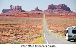 RV motorhome entering monument valley, utah