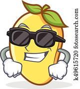 Super cool mango character cartoon mascot
