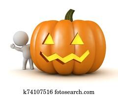 3D Character Waving from Behind a Halloween Jack-O-Lantern Pumpkin