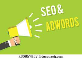 Conceptual hand writing showing Seo and Adwords. Business photo text Pay per click Digital marketing Google Adsense Man holding megaphone loudspeaker green background speaking loud.