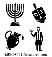 Hanukkah icon set, simple style