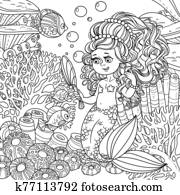 Cartoon mermaid girl pretties herself in front of a hand mirror on underwater world with corals and fish background outlined