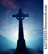 Celtic Cross with moonscape