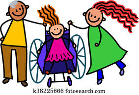 Disabled Girl and Parents