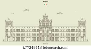 Ducal Palace of Modena, Italy. Landmark icon