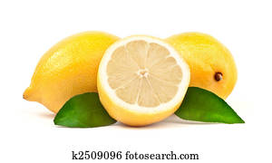 Lemon with green leaf