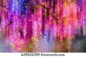 Spring purple flowers Wisteria. Watercolor painting