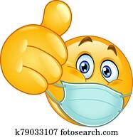daumen, emoticon, mit, medizinische, maske