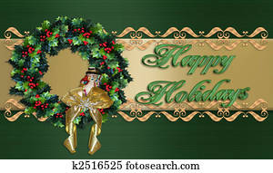 Happy Holidays Christmas Wreath border