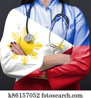 Doctor representing healthcare system with National flag of Philippines
