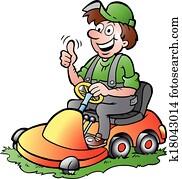 Gardener riding his lawnmower