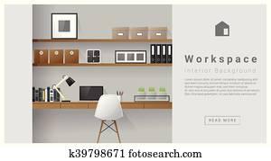 Interior design Modern workspace background