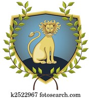 Lion in laurel wreath