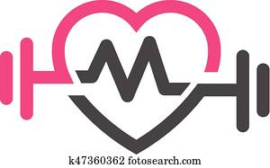 love fit with pulse logo vector, letter M