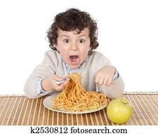 Colección de foto - adorable, niño, hambriento, en, el