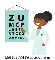 African-american ophthalmologist with eye chart.