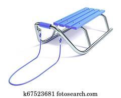 Blue wooden metal sledge 3D