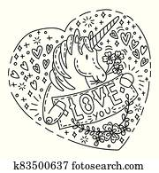 Doodle unicorn love you