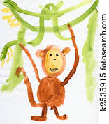 Drawing made child - Monkey and green lianas