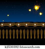 hindu festival diwali, lighting of lamp and fireworks