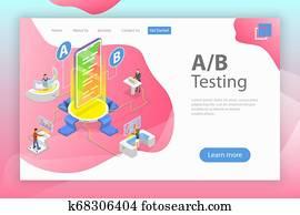 Isometric flat vector concept of AB testing, split test, A-B comparison.
