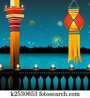 lamp lighting, lanterns, fireworks, balcony, festival - diwali