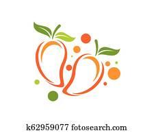 Mango in flat style. Mango vector logo