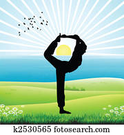silhouette of human doing yoga, sunrise background