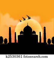 silhouette view of Taj Mahal, agra, India with sunrise background