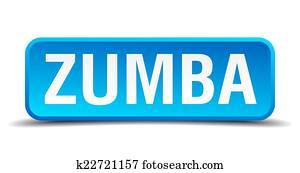 Zumba blue 3d realistic square isolated button
