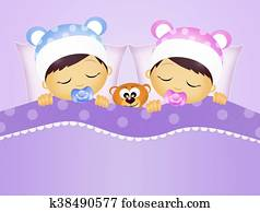 babies sleeping in the bed